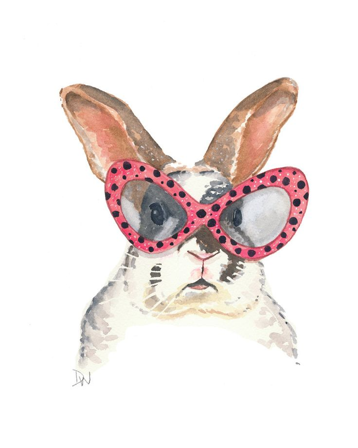 Rabbit Watercolor Painting - Original Bunny Art, Rabbit Illustration, Polka Dots, Pink glasses. $40.00, via Etsy.