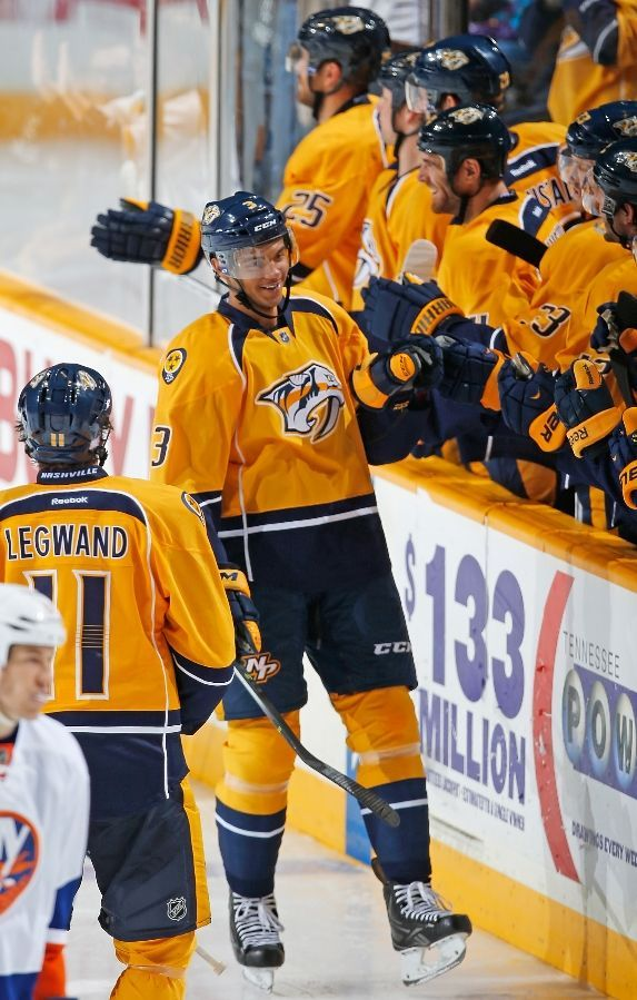 Seth Jones celebrated his first career NHL goal with his teammates. 10/12/13