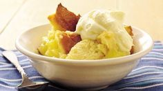Old-fashioned bread pudding gets a new flavor twist with lemon pie filling.