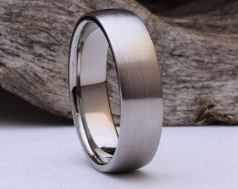 Anillo de titanio con forma de cúpula y acabado cepillado, hombres de anillos de boda para hombre de titanio, titanio anillo para hombre, para hombre titanio anillo de bodas para hombre