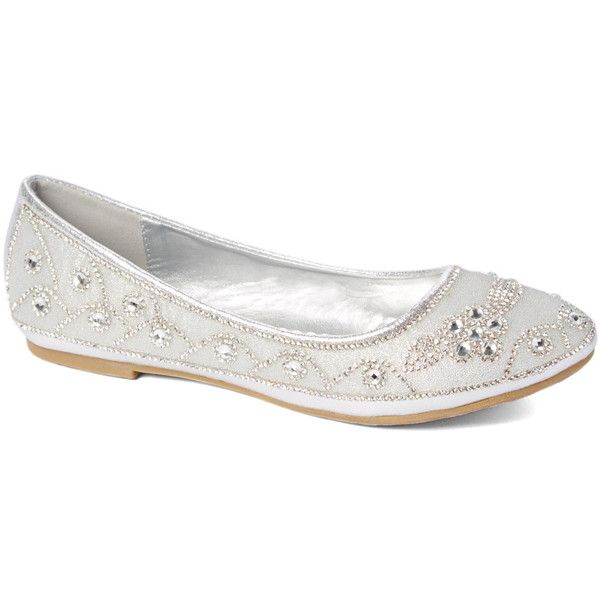 LADY GOGO Silver Scalloped Rhinestone Ballet Flat ($11) ❤ liked on Polyvore featuring shoes, flats, shoes and boots, ballet flats, silver ballet flats, embellished flats, sparkly shoes and silver flats