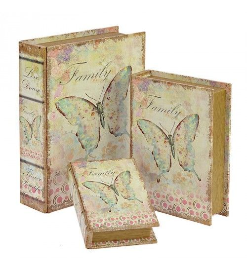 S_3 WOODEN_CANVAS BOOK BOX 'BUTTERFLY' 30X24X8