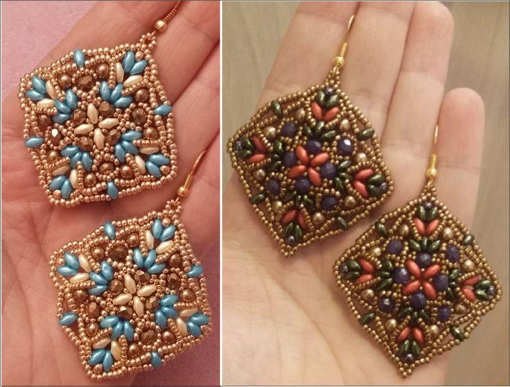 Realizzati con: - Superduo - Mezzi cristalli da 4 mm - Perle da 4 mm - Rocailles 15/0, 11/0 e 8/0 Seguimi su: FACEBOOK: https://www.Facebook.com/pages/Moonro...