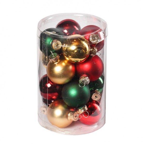 """Pflanzen-Kölle Weihnachtskugeln Mix """"Weihnachts-Klassik"""" Ø 3,5 cm, 16 Stück.  Zeitlos schöne Glaskugeln in Gold, Grün und Rot. Unentbehrlich für die stimmungsvolle Weihnachtsdekoration. Exklusiv bei Pflanzen-Kölle."""