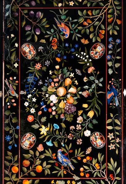 Dieser Künstler ist noch nicht katalogisiert-A Florentine Pietra Dura Table Top Inlaid With Various Marbles And Lapis Lazuli Centred By A Display
