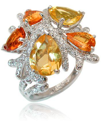 Bague Corail by Mathon Or blanc Diamants Citrines Grenats spessartite