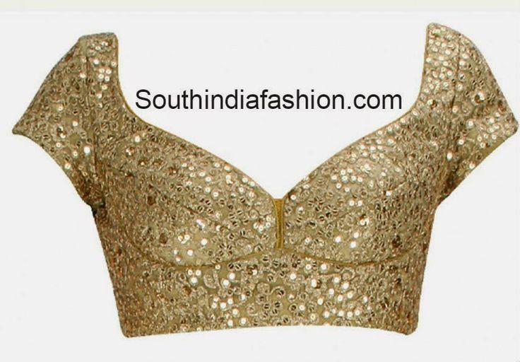 gold color saree blouse