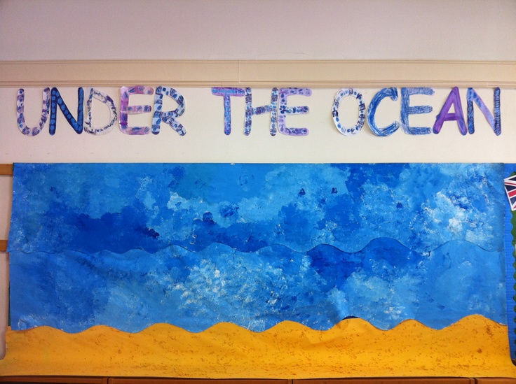 Under the Ocean display- we sponge painted the ocean using blue and white paint, and used orange paint mixed with rice for the bottom of the ocean... That's just the beginning!  We used neocolours crayons then sprayed water on it to make the letters UNDER THE OCEAN