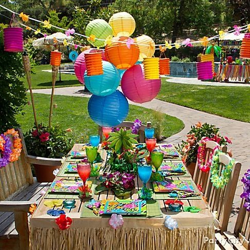 kids luau birthday party food ideas - AT AT Yahoo! Search Results. NICE colorful birthday setting.