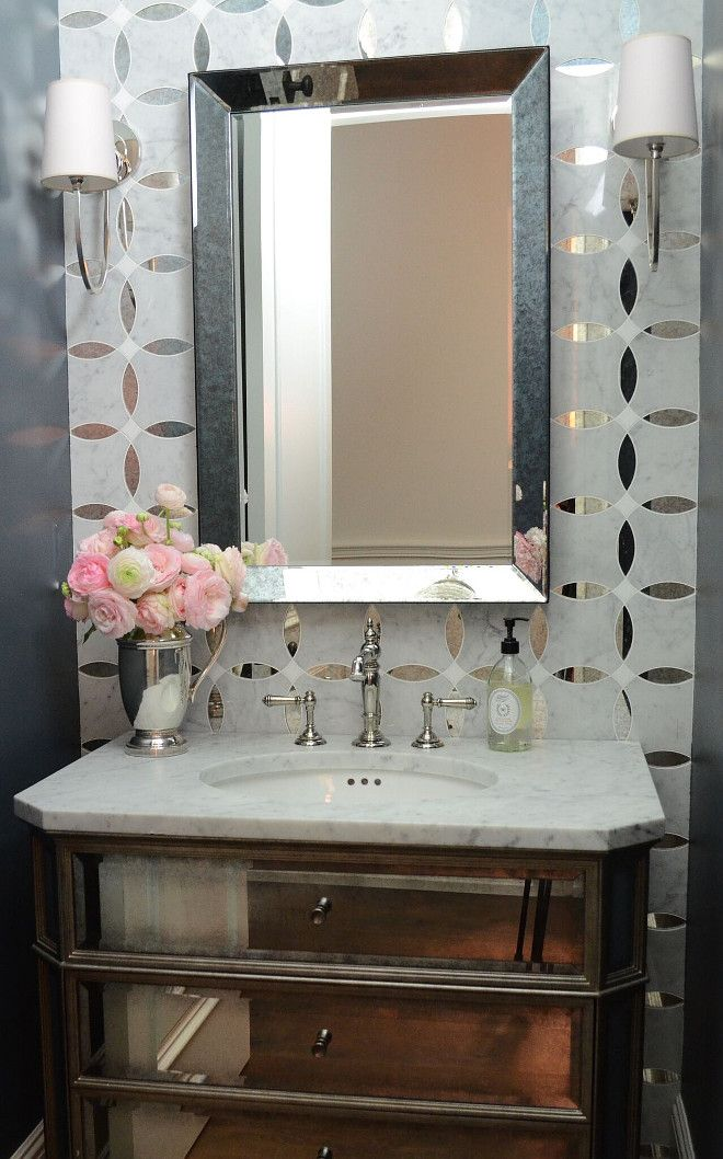 Mirrored Tile. Mirrored Tile Ideas. Mirrored Wall Tile. I fell in love with the marble and antique mirror mosaic and decided I had to use it somewhere. The addition of the antique mirror cabinet really made this small bath look amazing #Mirroredtile #MirroredWallTile Beautiful Homes of Instagram @SanctuaryHomeDecor