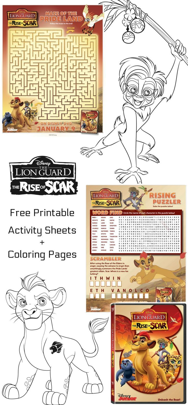 We Are Sharing Free Printable Disney The Lion Guard Coloring Pages And Activity Sheets To Celebrate The Relea Coloring Pages For Kids Coloring Pages Lion Guard