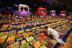 Diwali Celibration - London, England - Food is placed on the main stage as Sadhus and Hindu men celebrate Diwali at the BAPS Shri Swaminarayan Mandir on Nov. 14 in London, England. Diwali, which marks the start of the Hindu New Year, is being celebrated by thousands of Hindu men women and children in the Neasden mandir, which was the first traditional Hindu temple to open in Europe.