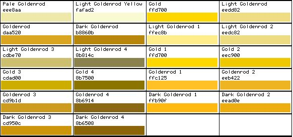 html color code gold code computers electronics tech Pantone