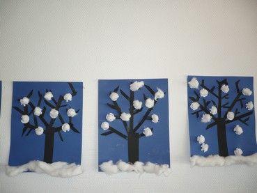 Winter - bomen met propjes papier of watten