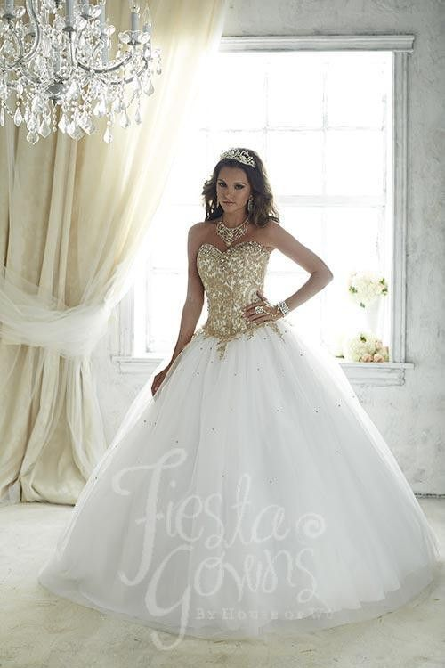 A true eye-catching quinceañera gown made with shining embroidery and emblazed with stones. Download the Fiesta Gowns by House of Wu sizing chart here. *Note lead times for dresses will vary. All item