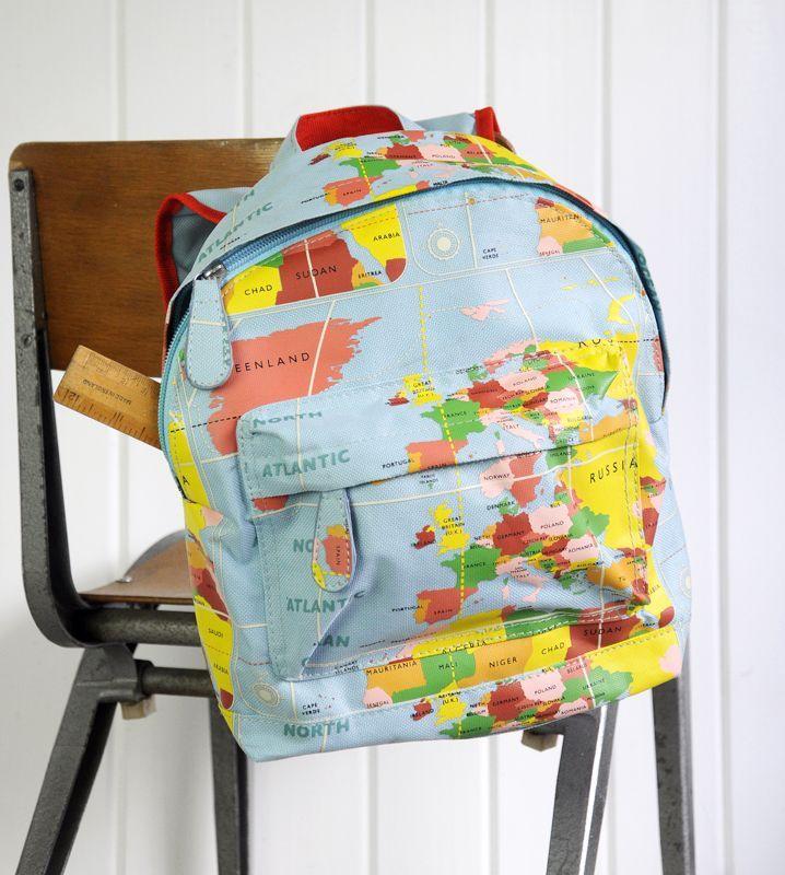 mini mochila niños  #mapamundi #vintage #retro 18 € http://petittandem.com/es/241-mochila-vintage.html. Dto. para twins al comprar 2