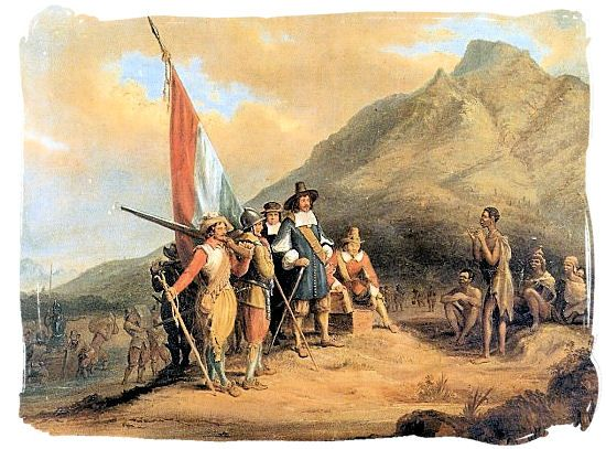 The Landing of Jan van Riebeeck (1619-77),the Dutch in Cape Of Good Hope,South Africa  in 6th April 1652 . The Khoikhoi (Hottentots) in the ... http://kwekudee-tripdownmemorylane.blogspot.nl/2013/06/the-khoikhoi-hottentots-first-people-of.html