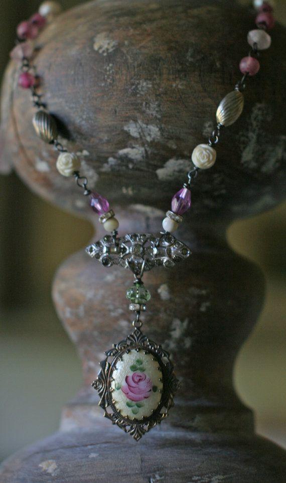 Rose Jardin  assemblage necklace by crownedbygrace on Etsy, $82.00