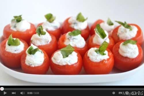 Ricette Antipasti Video pomodorini ripieni di caprino