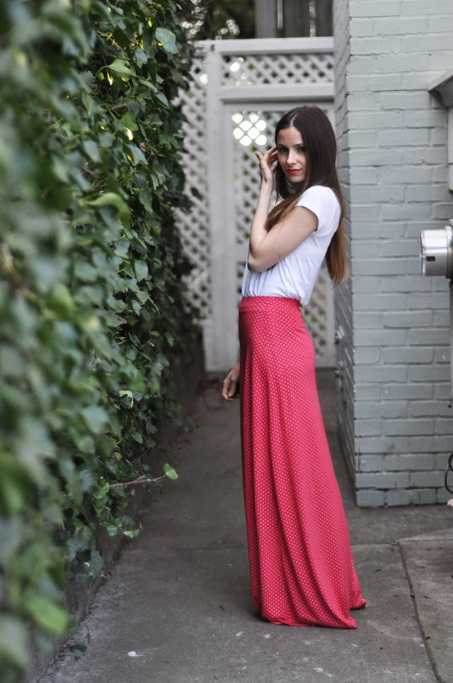 C: Quick knit a-line maxi skirt tutorial