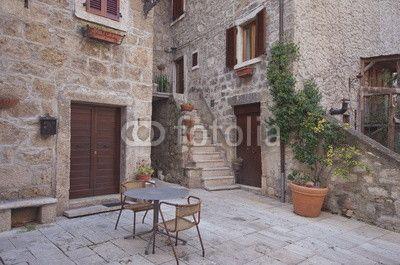 View in the village of Castel Trosino, marche region