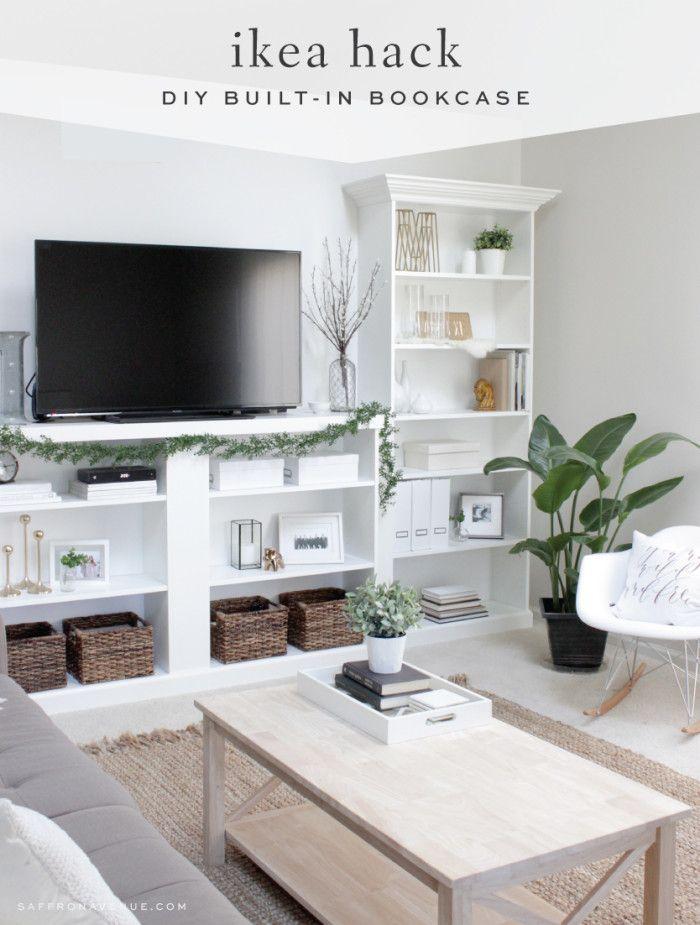 Our Ikea Hack :: DIY Built-In Bookcase - Saffron Avenue : Saffron Avenue                                                                                                                                                                                 More