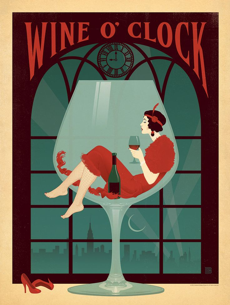 Wine oclock this elegant print celebrates the seducctive qualities of red wine much like real wine this calssic art deco style print will improve