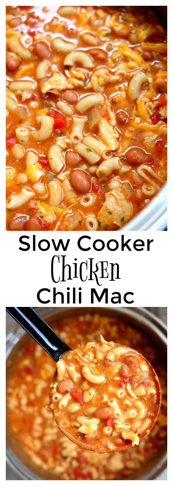 Slow Cooker Chicken Chili Mac–an easy one pot recipe for cheesy chili mac made with tender bites of chicken and two kinds of beans. A perfect easy weeknight meal.  #ad #SWBeans #IC @swbeans
