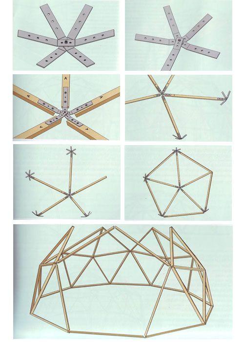 Теплица геодезический купол - сборка узлов