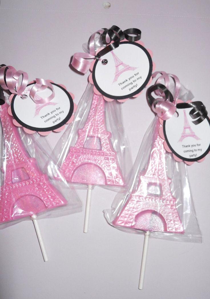 12 Eiffel Tower Paris, Ooh La La Gourmet Chocolate Lollipops with Ribbon Kids Favors Wedding Favors Baby Shower Bridal Shower Birthday Party Favors