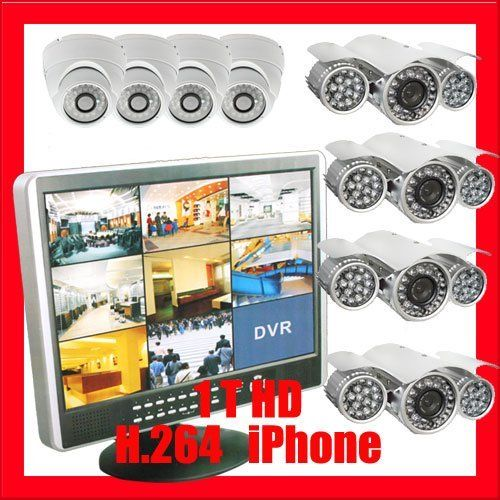 "Professional 8 channel 19"" Color LCD DVR with 4 x 1/3"" Sony CCD Outdoor Camera. 540 TV Lines, 48 x ¢8 + 24 x ¢5 pcs IR LEDs, 328 ft IR distance and 4 x 1/3"" Sony CCD Indoor Camera, 520 TV lines CCTV Surveillance Video Camera System Package . $1100.00. Package Includes: G-2898: 8 Channel 19"" Color LCD DVR with 1T HDD 4 x G-320B: 1/3"" Supper Had CCD outdoor Camera 4 x G-726W :1/3"" Sony CCD indoor Camera 1 x G-125CAW: 125 feet pre-made cable BNC 2 x G-100CAW: 100 feet pre-made c..."