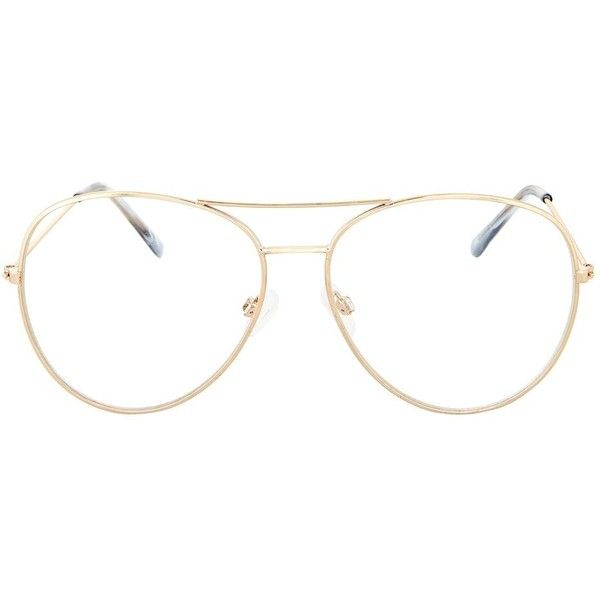 Topshop Arnie Reading Glasses ($18) ❤ liked on Polyvore featuring accessories, eyewear, eyeglasses, gold, reading glasses, aviator glasses, vintage aviator, vintage reading glasses and vintage aviator eyeglasses