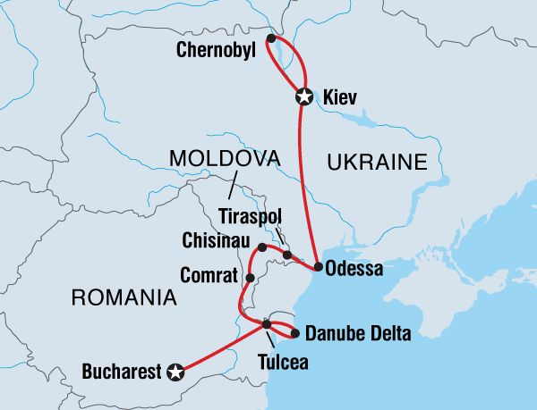 Intrepid 13 day tour Eastern Europe map.Moldova, Ukraine & Romania overview | Step off the beaten track on this fascinating expedition through Romania, Moldova and the Ukraine