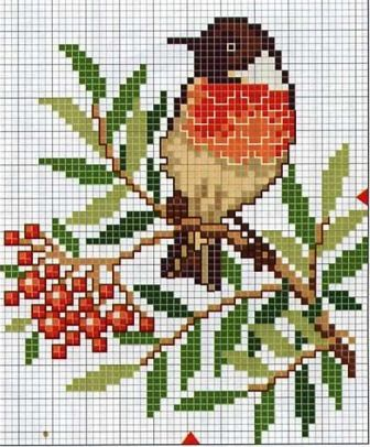 "Ornament ""bullfinch"" scheme for knitting"