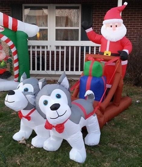 Christmas husky sled dog santa xmas inflatable motor 8 for Motor for inflatable decoration