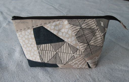Threading My Way: Crazy Patchwork Open Wide Zippered Pouch: Umbrella Prints Trimmings Competition 2013