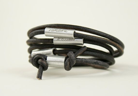 Personalized engraved leather bracelet wrapped by TanjaBraun, €26.90