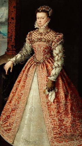 A portrait of one of King Philip II's wives, Elizabeth of Valois, Queen of Spain. By Alonso Sanchez Coello, circa 1560.