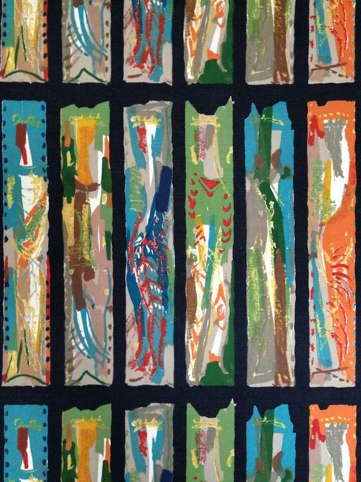 John Piper's 'Arundel' (1960) Textile screen print inspired by stained glass - Meg Andrews Antique Costume and Textiles