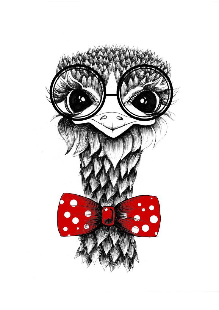 """Illustration crayon noir et couleurs """" Autruche rouge """" (21 x 29.7cm) portrait animal : Affiches, illustrations, posters par 123soleil"""