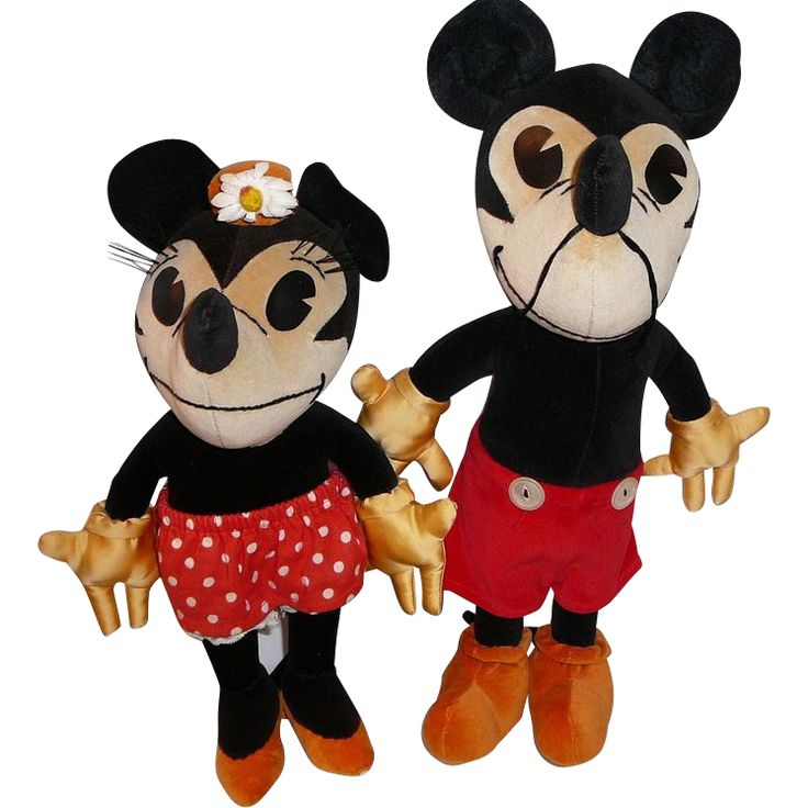 1930s Mickey Mouse and Minnie Mouse Charlotte Clark Velvet Dolls..
