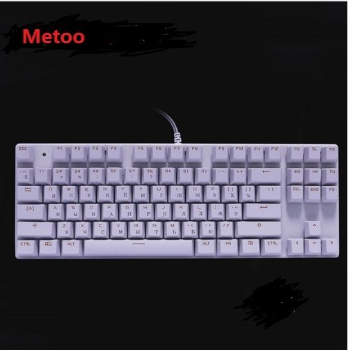Metoo russian english version gaming genuine mechanical keyboard anti ghosting luminous 87 led blue