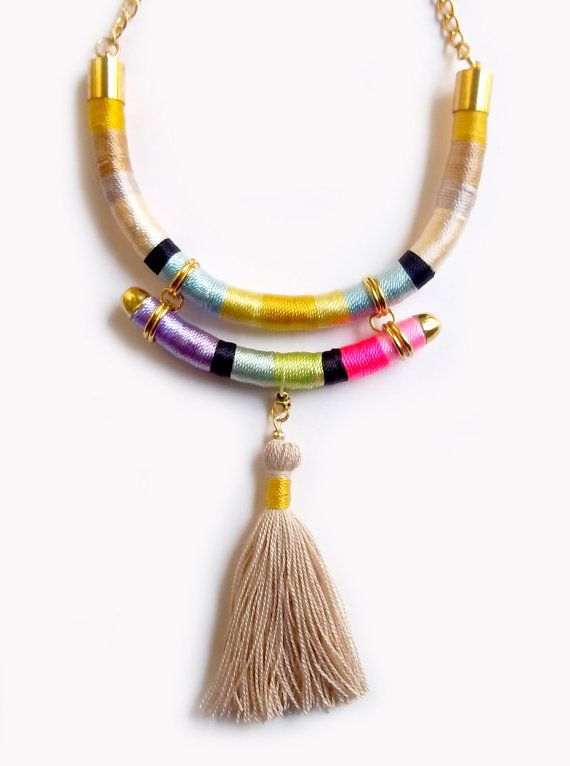 Wrapped rope Necklace beige necklace handmade tassel by tashtashop