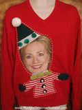 Hillary Clinton looks great in stripes! If you're a fan of her for 2016, you might want to get one of these sweaters. http://www.myuglychristmassweater.com/collections/ugly-celebrity-christmas-sweaters