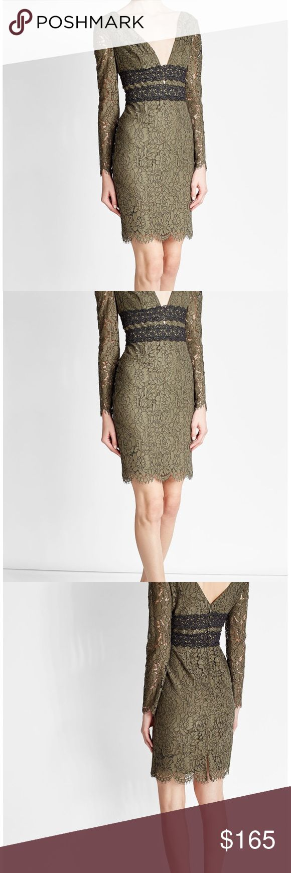 Diane Von Furstenberg  V-Neck Long Sleeves Dress Diane Von Furstenberg Viera Double V-Neck Long Sleeves Lace Dress NWT Sz 10 $498.    An unusual shade of khaki green and an intricate embroidery-style lace make this fitted dress a flattering investment from Diane von Furstenberg. Panels in contrast black add definition. MATERIAL & CARE  35% Cotton, 34% Polyamide, 31% Viscose Dry clean  *Color may be slightly different from the picture as camera and lighting can effect photo* Diane Von…