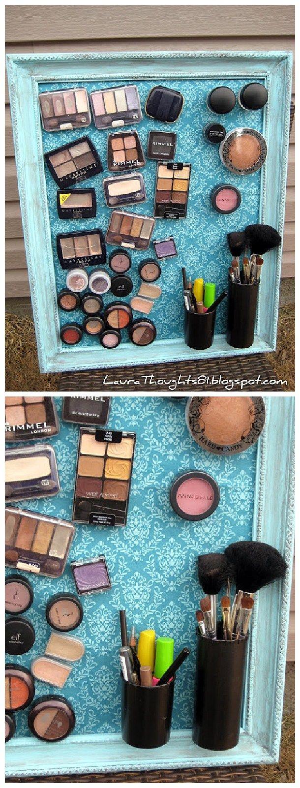 DIY Bathroom Organizer Ideas - DIY Magnetic Makeup and Beauty Tools Decorative Space Saving Organization Board via Laura Thoughts