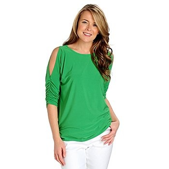 Kate & Mallory Stretch Knit Ruched Sleeved Cold Shoulder Top, Shop NBC