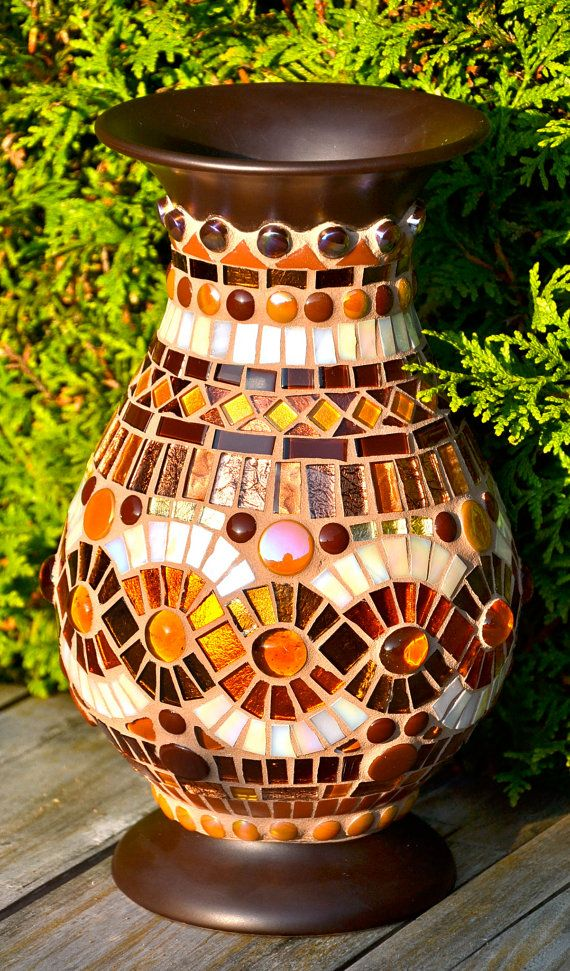 Brown and gold mosaic vase ceramic and glass by mimosaico on Etsy
