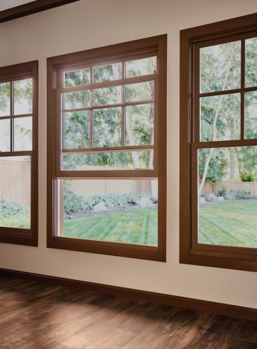 Essence Series Double Hung Window With Colonial Grids. View Milgard Windows  And Doors Photo Gallery · Wood Living RoomsLiving Room ...