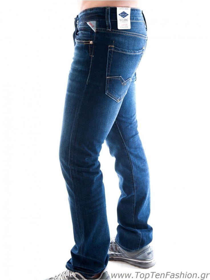 REPLAY Waitom  Ανδρικό χαμηλοκάβαλο τζιν, slim fit γραμμή, μπλε χρώμα. 136,00 €